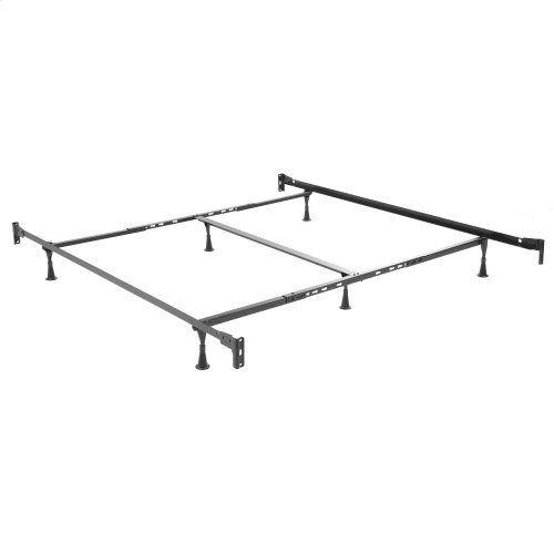 Braylen Complete Metal Bed and Steel Support Frame with Spindle Panels and Detailed Castings, Weathered Nickel Finish, King
