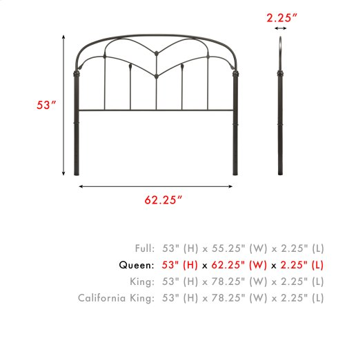 Pomona Metal Headboard Panel with Curved Grills and Detailed Posts, Hazelnut Finish, Queen