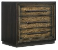 Bedroom Crafted Metal Wrapped Three-Drawer Nightstand Product Image