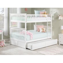 Columbia Bunk Bed Full over Full with Raised Panel Trundle Bed in White