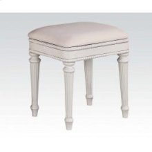 White Bench W/pu Seat Cushion