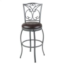 Columbia Metal Barstool with Chocolate Upholstered Swivel-Seat and Ash Gray Frame Finish, 30-Inch