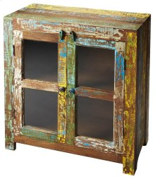 The Haveli display cabinet is crafted from recycled woods. The colorful distressed finish brings a light mood with it. The glass doors protected your displayed items.