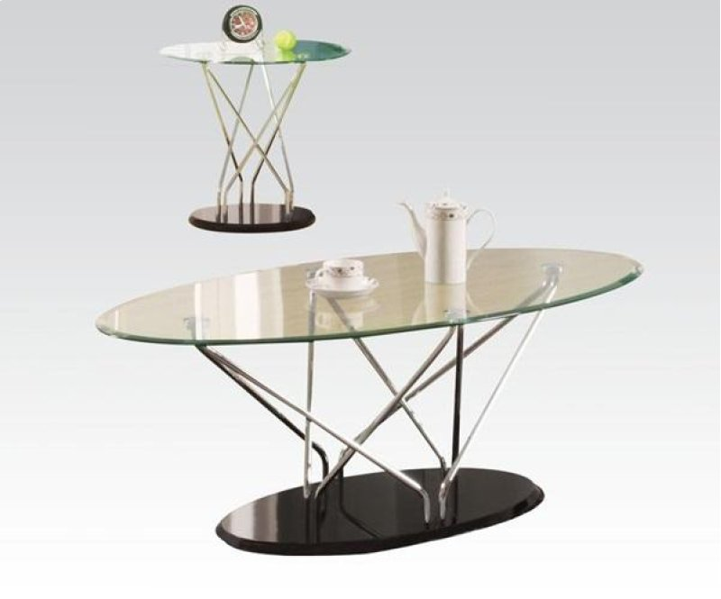 Chrome Bk Sofa Table W Gl Top