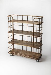 Display books and collectibles in this étagère. A handsome mix of metal and distressed Mango wood, we love its industrial modern character and 5-level shelves, perfect for spaces where closets and cabinets are in short supply and storage systems are key.