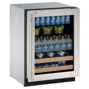 """U-Line 24"""" Beverage Center With Stainless Frame Finish and Right-hand Hinge Door Swing (115 V/60 Hz Volts /60 Hz Hz)"""
