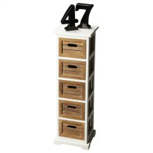 Five drawers finished in toasted barley then framed in the farmhouse white create a compelling aesthetic for this very practical piece that adds a bright spot and substantial storage to virtually any room in the home. Crafted from mango wood solids.