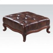 Dark Brown Leather Ottoman Product Image