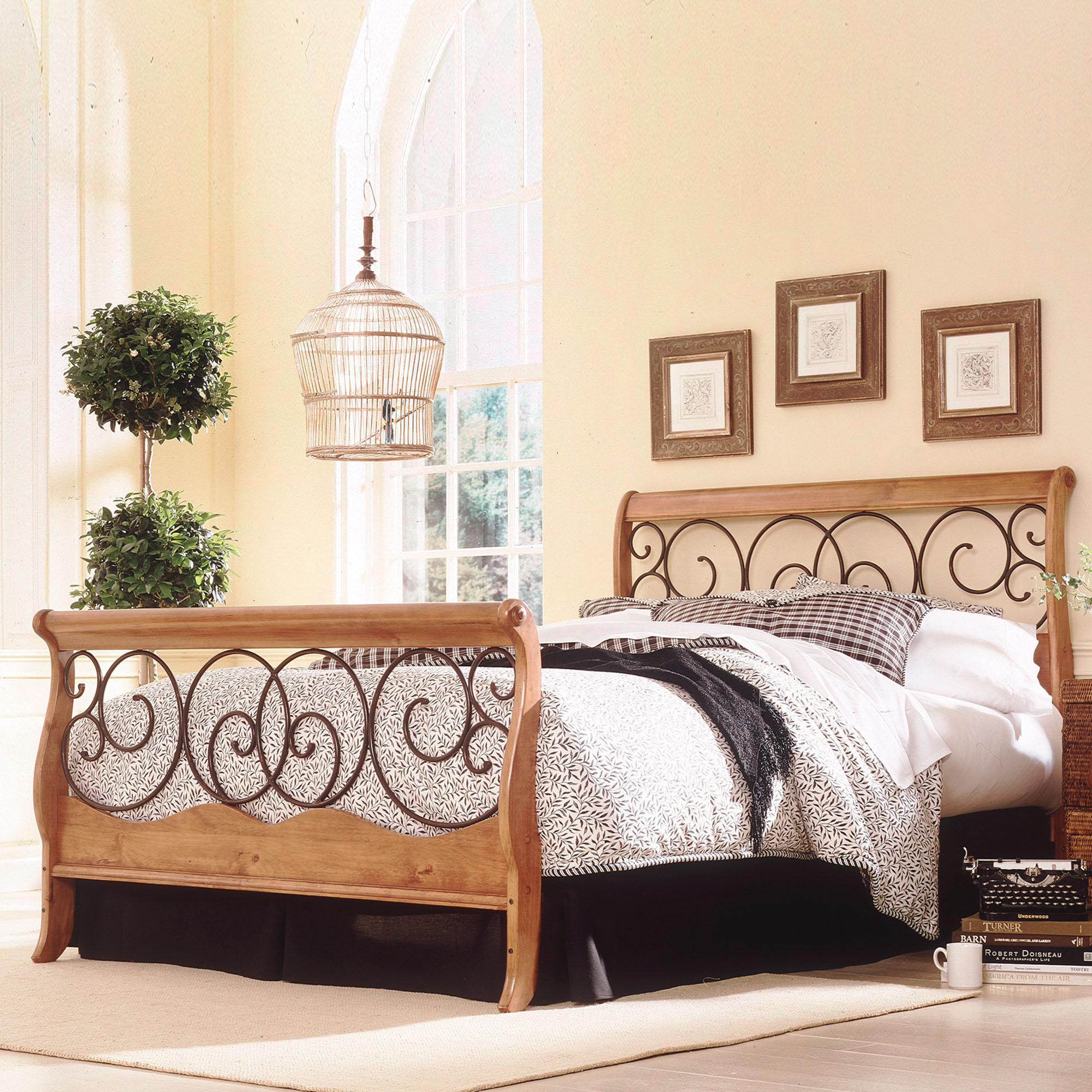 Fashion Bed Group Dunhill Complete Bed With Wood Sleigh Style Frame And  Autumn Brown Metal Swirling