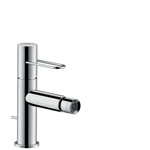 Stainless Steel Optic Single lever bidet mixer with loop handle and pop-up waste set