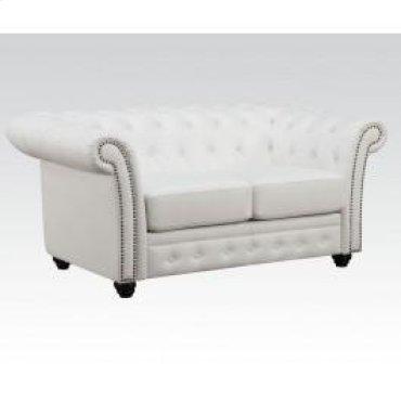 White Bonded Leather Loveseat