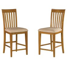 Mission Pub Chairs Set of 2 with Oatmeal Cushion in Caramel Latte