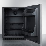 Summit Built-in Undercounter ADA Compliant All-refrigerator With Wrapped Stainless Steel Door, Horizontal Handle, Black Cabinet, Door Storage, and Digital Controls