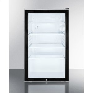 "SummitCommercially Listed ADA Compliant 20"" Wide Glass Door All-refrigerator for Built-in Use, Auto Defrost With A Lock and Black Cabinet"