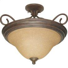 3-Light Dome Semi Flush Ceiling Light Fixture in Sonoma Bronze with Champagne Glass