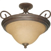 3-Light Dome Semi Flush Ceiling Light Fixture in Sonoma Bronze with Champagne Glass