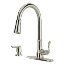 Spot Defense Stainless Steel 1-Handle Pull-Down Kitchen Faucet