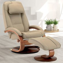 Bergen Recliner and Ottoman in Cobblestone Top Grain Leather