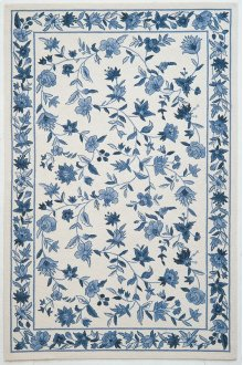 Colonial 1727 Ivory/blue Floral 2' X 8' Runner
