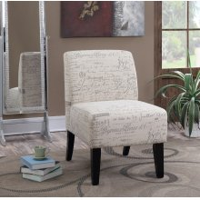 Parma Beige French Script Slipper Accent Chair