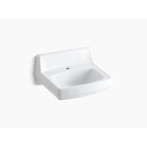 """White 20-3/4"""" X 18-1/4"""" Wall-mount/concealed Arm Carrier Bathroom Sink With Single Faucet Hole, Drilled for Fixture-supported Knee-action Valve"""