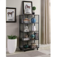 Weathered Taupe and Black Bookcase