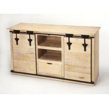 Update your entertainment ensemble with this Rustic, solid Mango wood, on-trend TV stand. Two sliding barn cabinet doors open to reveal out-of-sight storage space for DVDs, books, or video games, while two open shelves and a single drawer top provide a