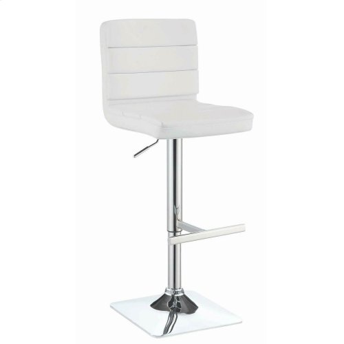 Contemporary Adjustable White Bar Stool With Chrome Finish