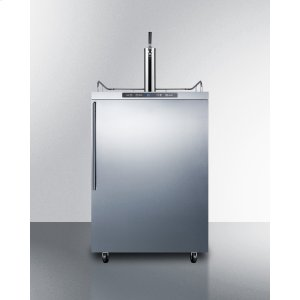 SummitFreestanding Residential Outdoor Beer Dispenser, Auto Defrost With Digital Thermostat, Stainless Steel Wrapped Exterior, and Thin Handle