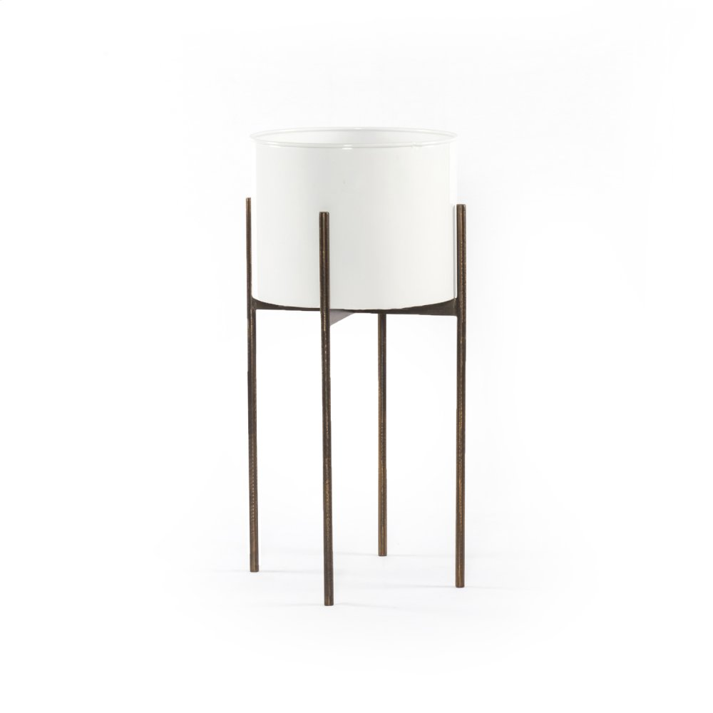 Jed Tall Planter-white High Gloss