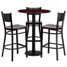 30'' Round Mahogany Laminate Table Set with 3 Grid Back Metal Barstools - Mahogany Wood Seat