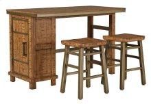 Dondie - Warm Brown 3 Piece Dining Room Set