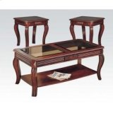 Cherry 3pc C/e Table W/gl Top Product Image