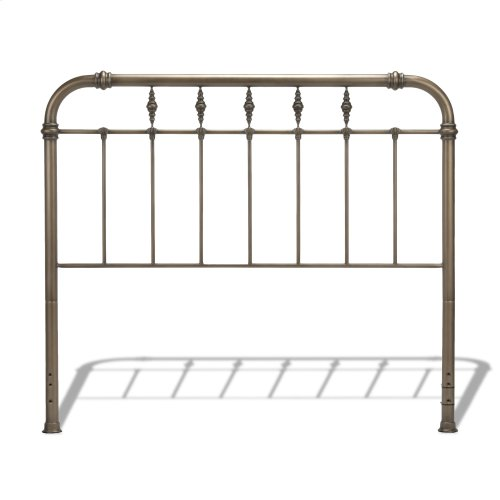 Vienna Metal Headboard Panel with Spindles and Intricately Carved Finials, Aged Gold Finish, King