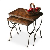 These handsome bunching tables evoke the charm of a rustic wilderness cabin. Crafted from gemelina wood solids and wood products, they feature aged pewter finished metal bases and distressed tabletops with maple, sapele and quarter-cut cherry veneers.