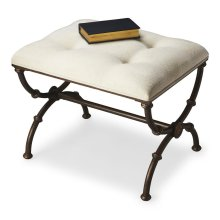 Soft, tufted, cotton hobnail upholstered seat atop a dark pewter finished metal base with gold undertones create a beautiful harmony - and a comfortable stool.