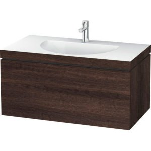 Furniture Washbasin C-bonded With Vanity Wall-mounted, Chestnut Dark (decor)