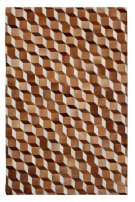 This hair on hide leather rug gives warmth to hardwood and marble floors. The tumble block pattern has a classic illusion in natural hide tones combining warm white, vanilla, and eggshell colors with diverse espresso, chocolate and bronze on opposing s Product Image