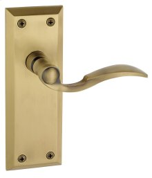 Grandeur - Dummy Right Handed Knob - Fifth Avenue Plate with Bellagio Lever in Vintage Brass