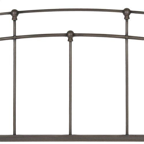 Fenton Metal Headboard Panel with Gentle Curves, Black Walnut Finish, Twin