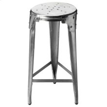 Crafted from hand-forged aluminum in a matte finish with riveted braces uniting round seat and tapered legs, this Bar Stool sits comfortably in a vintage industrial zone.