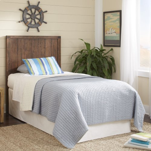 Porter Kids Wood Headboard with Natural Knotting and Patina, Brushed Walnut Finish, Full