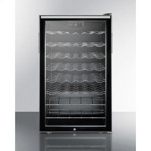 """SummitCommercially Listed 20"""" Wide Freestanding Wine Cellar With Lock, Digital Thermostat and Horizontal Handle"""