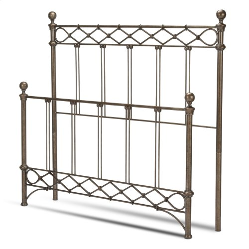 Argyle Bed with Round Finial Posts and Diamond Wire Metal Grill Design, Copper Chrome Finish, California King