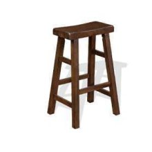 "30""H Santa Fe Saddle Seat Stool w/ Wood Seat"