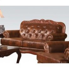 Dark Brown Leather Loveseat