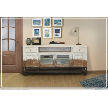 2 Drawer, 4 Door, TV Stand White Finish