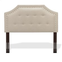 Avignon Button-Tuft Upholstered Headboard with Adjustable Height and Contrast Tape Nailhead Trim, Linen Natural Finish, Full / Queen