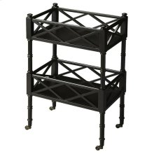 A versatile and unique piece, this mobile server can be used for entertaining or storage purposes. The server features a Black Licorice finish and has two shelves with open fretwork surrounding all sides.. The antique brass casters provide easy mobility.