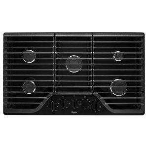 36 inch 5 Burner Gas Cooktop with Fifth Burner - BLACK